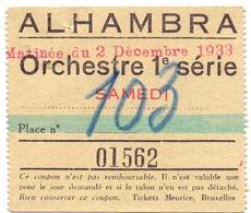 Etiket Etiquette - Inkom Ticket - Ticket D'entrée - Théatre Alhambra - 1933 - Bruxelles - Tickets D'entrée