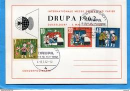 """CONTE-""""de GRIMM-Marcophilie-DRUPA 1962-Série 4 Timbres -Allemagne-N°241-4 -sur Carte Illustrée - Contes, Fables & Légendes"""
