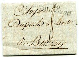 HAUTE GARONNE De TOULOUSE LAC Du 14/05/1798 Linéaire 43x10 Et Taxe De 8 Pour BORDEAUX - Marcophilie (Lettres)