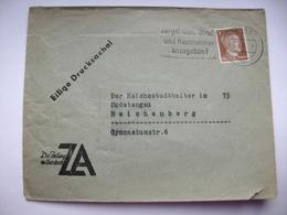 Deutches Reich 1942 - Eilige Drucksache Berlin - Reichenberg, Flamme Vergiß Nicht Straße...., Stamp Hitler 3 Pf. - Briefe U. Dokumente