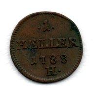 Allemagne  -  Possessions Autrichiennes --  Joseph II  -  1 Heller 1788 H  -état  TTB - Small Coins & Other Subdivisions