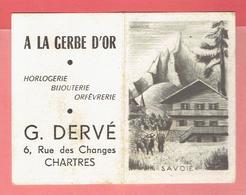 CALENDRIER 1953 LA SAVOIE OFFERT PAR LA GERBE D OR BIJOUTERIE DERVE 6 RUE DES CHANGES A CHARTRES EURE ET LOIR - Calendriers