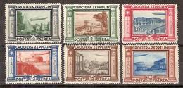 """(Fb).Regno.V.E.III.1933.""""Crociera Zeppelin"""".Serie Completa Di 6 Val Nuovi Con Gomma Integra,MNH (495-16) - 1900-44 Victor Emmanuel III"""
