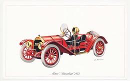 """Carton 18.4 X 11.5 Voiture Automobile MERCER """"Raceabout"""" 1913  Illustrateur P. Dumont Scan Recto Verso - Illustrators & Photographers"""