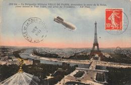 Le Dirigeable Militaire Vilel De Paris Descendant De La Seine PARIS 1913 - Dirigeables