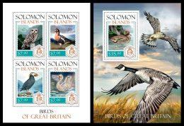 SOLOMON Isl. 2014 - Birds Of Great Britain - YT 2116-9 + BF280; CV=27 € - Solomon Islands (1978-...)