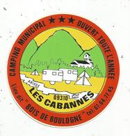 """Autocollant , CAMPING Municipal, Lieu Dit """"Bois De Boulogne"""" ,LES CABANNES ,  Ariège - Stickers"""