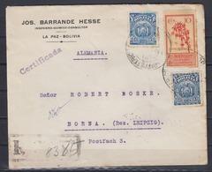 Bolivien R-Auslandsbrief La Paz 1926 MiF 2x121,141 Nach Leipzig - Bolivien
