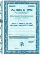 84-PLATRIERES DE FRANCE. L'ISLE SUR SORGUE. C N A  25 F. Lot De 2 - Shareholdings