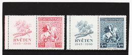 Post291 TSCHECHOSLOWAKEI CSSR 1946 MICHL 490/91 Zf Mit ZIERFELD ** Postfrisch SIEHE ABBILDUNG - Tschechoslowakei/CSSR
