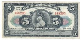 Peru 5 Soles De Oro 17/10/1947 - Peru