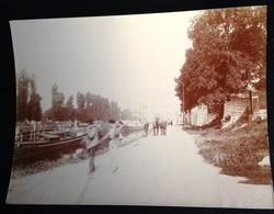 Saint St Moret Sur Loing Photo Originale Circa 1900  Vue Péniche Chemin Canal Rivière 11 Cm X 8 Cm - France