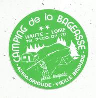 Autocollant , CAMPING DE LA BAGEASSE ,  Haute Loire,  BRIOUDE-VIEILLE BRIOUDE ,pêche ,baignade - Stickers