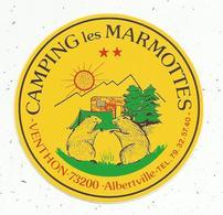Autocollant  ,CAMPING LES MARMOTTES ,  Savoie,  VENTHON ,  Albertville - Stickers