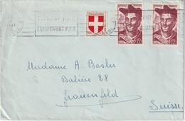 FRANCE 1950 LETTRE DE LA GIRONDE POUR BALE - Poststempel (Briefe)