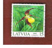 LETTONIA (LATVIA)   -  SG 579  -  2002 ORCHIDS: CYPRIPEDIUM CALCEOLUS    -   USED - Lettonia