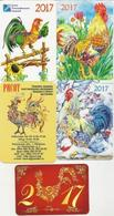Calendar Russia 2017 - A Selection Of 5 Pcs. - Roosters - Animals - Nature - Drawings - Applied Art - Beautiful. - Calendars