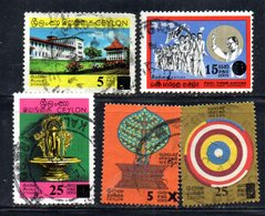 APR1025 - CEYLON ,  Cinque Valori Usati (2380A) - Sri Lanka (Ceylon) (1948-...)