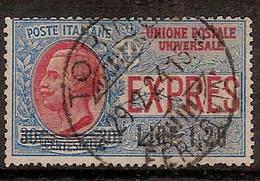 """(Fb).Regno.V.E.III.Espressi.1921.""""Espresso Soprastampato"""" .1,20 Lire Usato (525-16) - 1900-44 Vittorio Emanuele III"""
