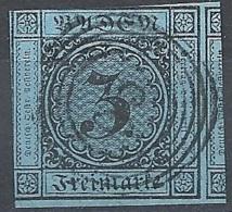 Baden, 1853 Value In Circle, 3kr Black, Blue, Imperf. # Michel 8 - Scott 7 - Yvert 7 Used - Baden