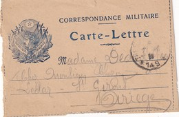 FRANCE   CARTE LETTRE DE FRANCHISE MILITAIRE - Marcofilia (sobres)