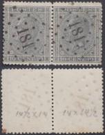 """Belgique - COB 17 En Paire Oblitération LP """"181"""" Herts-Op-Den-Berghe (DD) DC3192 - 1865-1866 Profilo Sinistro"""