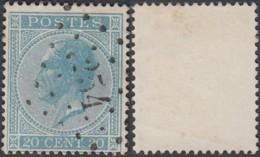 """Belgique - COB 18 Oblitération LP """"254"""" Montzen (DD) DC3213 - 1865-1866 Profile Left"""