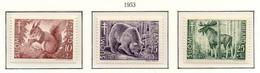 PIA - FINLANDIA - 1953 : Pro Tubercolotici - Animali Delle Foreste -  (YV  401-03) - Malattie