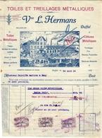 1 Facture DUFFEL  Vve L.Hermans Toiles & Treillages  Clôtures Métalliques C1920 - Belgique