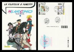 ITALIA 2019 - Cartolina Gigante A4 Filatelica : MILANO COMICS GAMES - Lupo Alberto Codice A Barre E Coccobill - 6. 1946-.. Republic