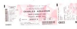 Ticket D'entrée Pour Charles AZNAVOUR Le 13/12/2017 à Bercy ( Paris), Spectacle, Chanteur, ( B250) - Tickets D'entrée