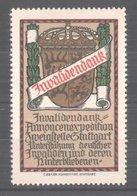 """Reklamemarke Invalidenbank Der Zweigstelle Stuttgart, """"Unterstützung Deutscher Invaliden!"""", Wappen - Vignetten (Erinnophilie)"""