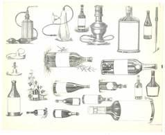 Feuille D'imprimeur ( A. Waton, Saint Etienne ) Illustrée De Dessins (modèles En-tête De Factures ), Bouteilles, Flacons - Invoices & Commercial Documents