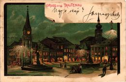 Czech Republic, Trutnov, Trautenau, Square Scene At Night,Old Litho Postcard - Czech Republic