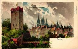 Czech Republic, Cheb, Eger, View, Aud Der Kaiserburg,Old Litho Postcard - Czech Republic