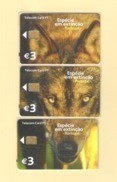 """PUZZLE OF 3 CHIPCARD PORTUGAL """"LOBO IBÉRICO"""" EX: 2.000 - MINT/SEALED - Portugal"""
