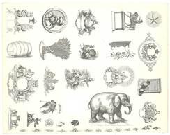 Feuille D'imprimeur ( A. Waton, Saint Etienne ) Illustrée De Dessins (modèles En-tête De Factures ), Animaux, Objets - Facturas & Documentos Mercantiles