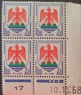 R1949/729 - 1958 - BLASON DE NICE - N°1184 BLOC TIMBRES NEUFS** BdF Daté - Dated Corners