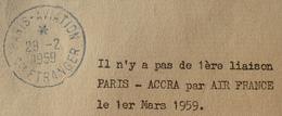 """R1949/732 - CH. De FOUCAULD N°1191 Sur ✉️ En P.R. Pour ACCRA (Ghana) ☛☛☛ Cachet BLEU """" PARIS AVIATION ETRANGER """" - Postmark Collection (Covers)"""