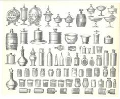 Feuille D'imprimeur ( A. Waton, Saint Etienne ) Illustrée De Dessins (modèles En-tête De Factures ), Pots, Flacons - Invoices & Commercial Documents