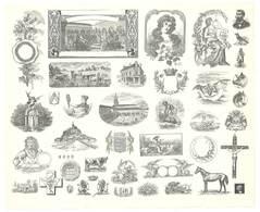 Feuille D'imprimeur ( A. Waton, Saint Etienne ) Illustrée De Dessins (modèles En-tête De Factures ), Portraits, Animaux - Facturas & Documentos Mercantiles