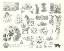 Feuille D'imprimeur ( A. Waton, Saint Etienne ) Illustrée De Dessins (modèles En-tête De Factures ), Portraits, Animaux - Invoices & Commercial Documents