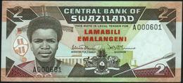 SWAZILAND - 2 Emalangeni Nd.(1987) {Prefix A000601} AU-UNC P.13 - Swaziland