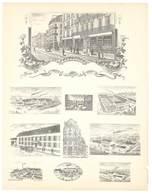 Feuille D'imprimeur ( A. Waton, Saint Etienne ) Illustrée De Dessins (modèles En-tête De Factures ), Usines Magasins - Invoices & Commercial Documents