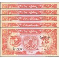 TWN - SUDAN 38 - 50 Piastres 1987 DEALERS LOT X 5 - Series B/92 UNC - Sudan