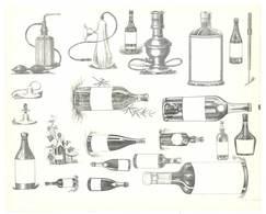 Feuille D'imprimeur ( A. Waton, Saint Etienne ) Illustrée De Dessins (modèles En-tête De Factures ), Bouteilles, Flacons - Sin Clasificación