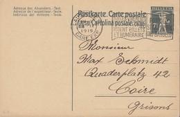 SCHWEIZ  MiNr. P 56 I, ZNr. 64 Mit Stempel: Lausanne 14.IX.1919 - Ganzsachen
