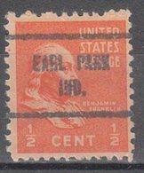 Locals USA Precancel Vorausentwertung Preo, Locals Indiana, Earl Park 713 - Etats-Unis