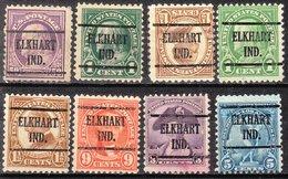 Locals USA Precancel Vorausentwertung Preo, Locals Indiana, Elkhart 225, 8 Diff. Perf. 2 X 11x11, 1 X 10x10, 5 X 10 1/2 - Vorausentwertungen