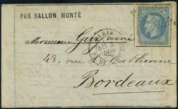 Lettre LE FERDINAND FLOCON, Paris 3 Nov. 70 Pour Bordeaux, Arrivée Le 6/11/70, Timbre Défectueux Sinon TB - Postzegels